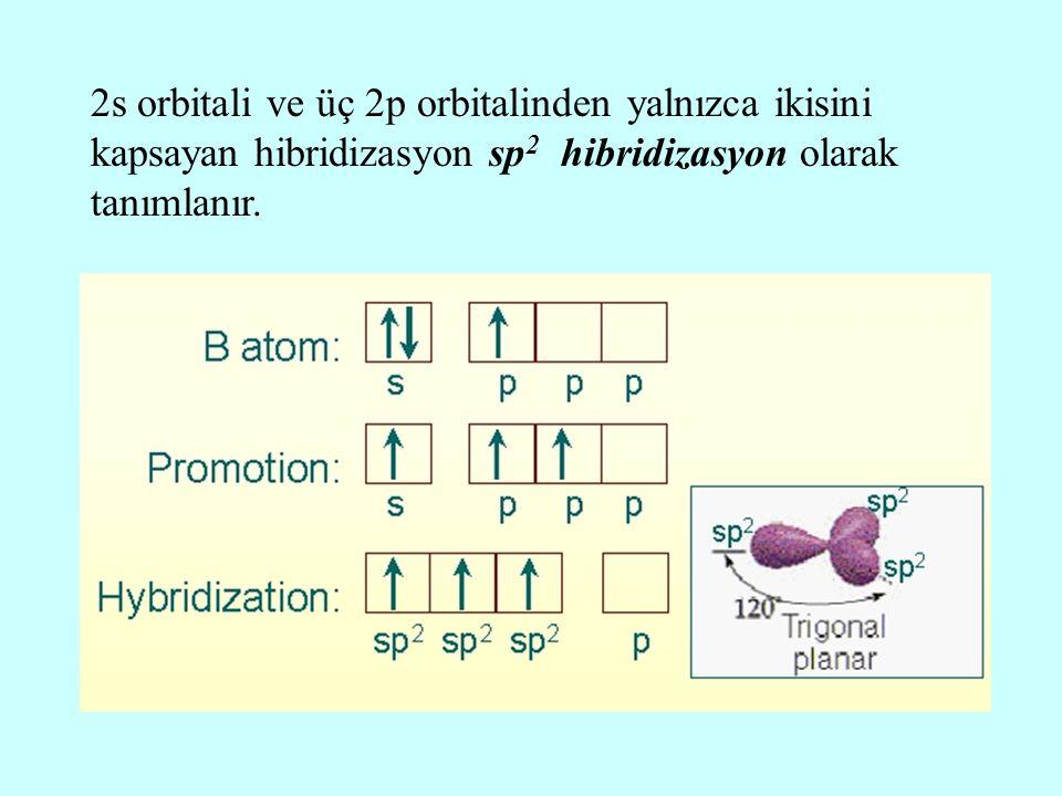 2s orbitali ve üç 2p orbitalinden yalnızca ikisini kapsayan hibridizasyon sp 2 hibridizasyon olarak tanımlanır.