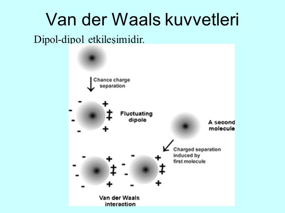 Van der Waals kuvvetleri Dipol-dipol etkileşimidir.