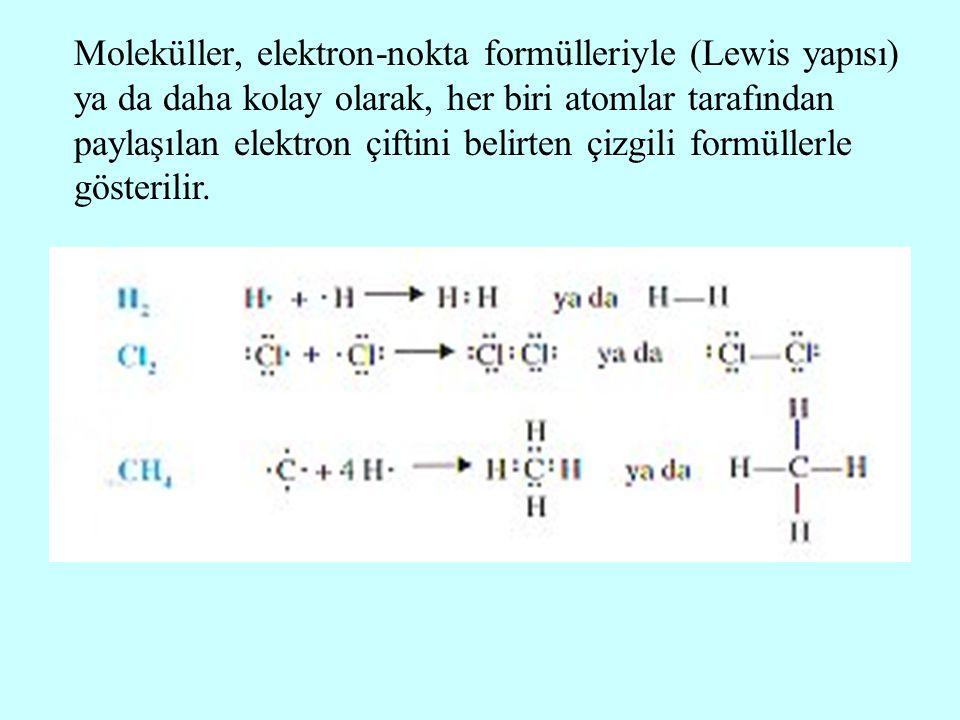 Moleküller, elektron-nokta formülleriyle (Lewis yapısı) ya da daha kolay olarak, her biri atomlar tarafından paylaşılan elektron çiftini belirten çizg