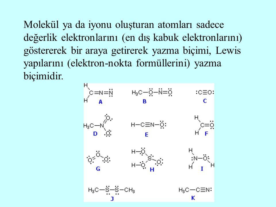 Molekül ya da iyonu oluşturan atomları sadece değerlik elektronlarını (en dış kabuk elektronlarını) göstererek bir araya getirerek yazma biçimi, Lewis