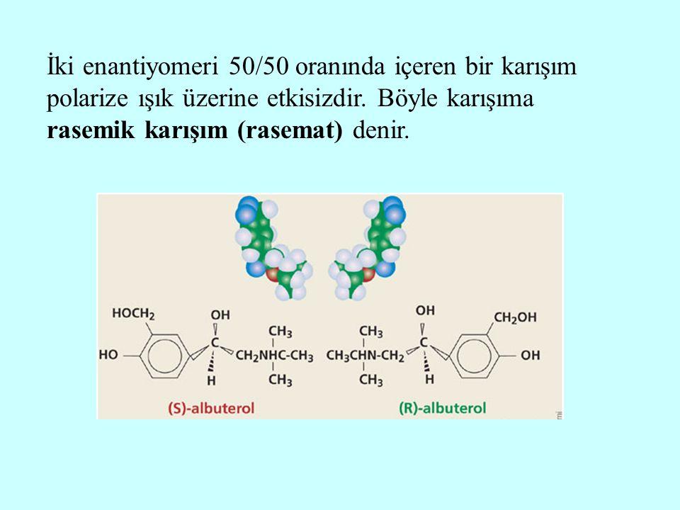 İki enantiyomeri 50/50 oranında içeren bir karışım polarize ışık üzerine etkisizdir. Böyle karışıma rasemik karışım (rasemat) denir.