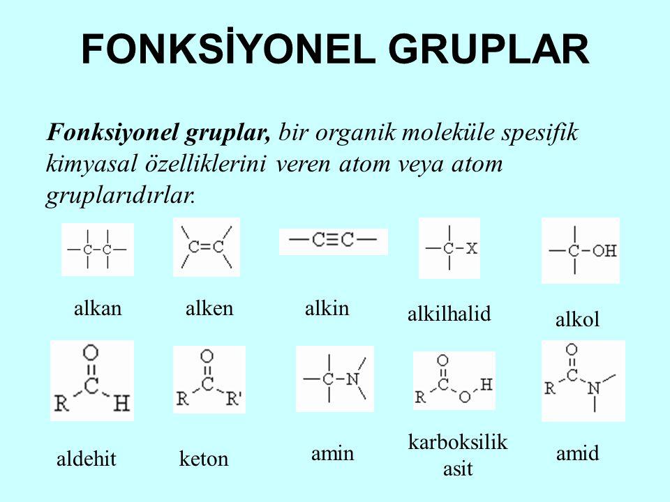 FONKSİYONEL GRUPLAR Fonksiyonel gruplar, bir organik moleküle spesifik kimyasal özelliklerini veren atom veya atom gruplarıdırlar. alkanalkenalkin alk
