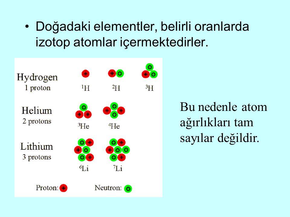 Doğadaki elementler, belirli oranlarda izotop atomlar içermektedirler. Bu nedenle atom ağırlıkları tam sayılar değildir.