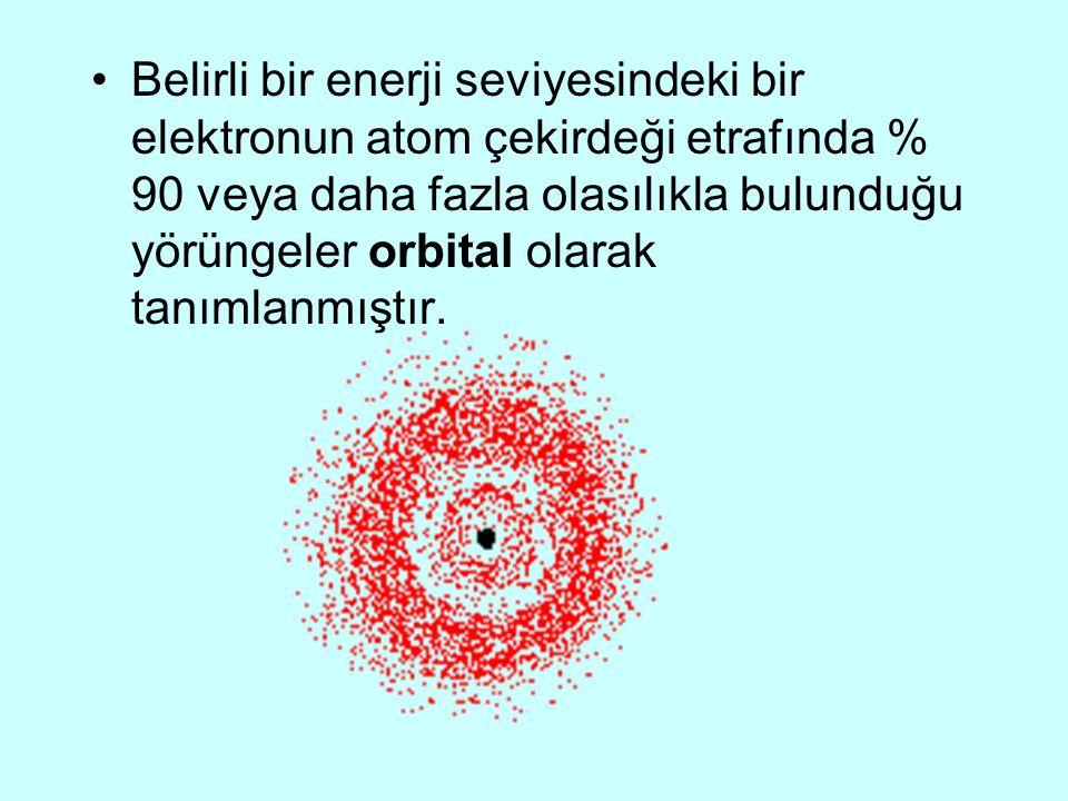 Belirli bir enerji seviyesindeki bir elektronun atom çekirdeği etrafında % 90 veya daha fazla olasılıkla bulunduğu yörüngeler orbital olarak tanımlanm