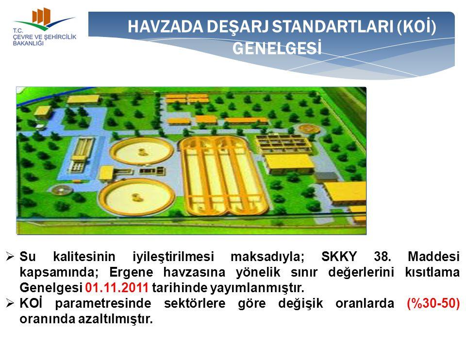 HAVZADA DEŞARJ STANDARTLARI (KOİ) GENELGESİ  Su kalitesinin iyileştirilmesi maksadıyla; SKKY 38. Maddesi kapsamında; Ergene havzasına yönelik sınır d