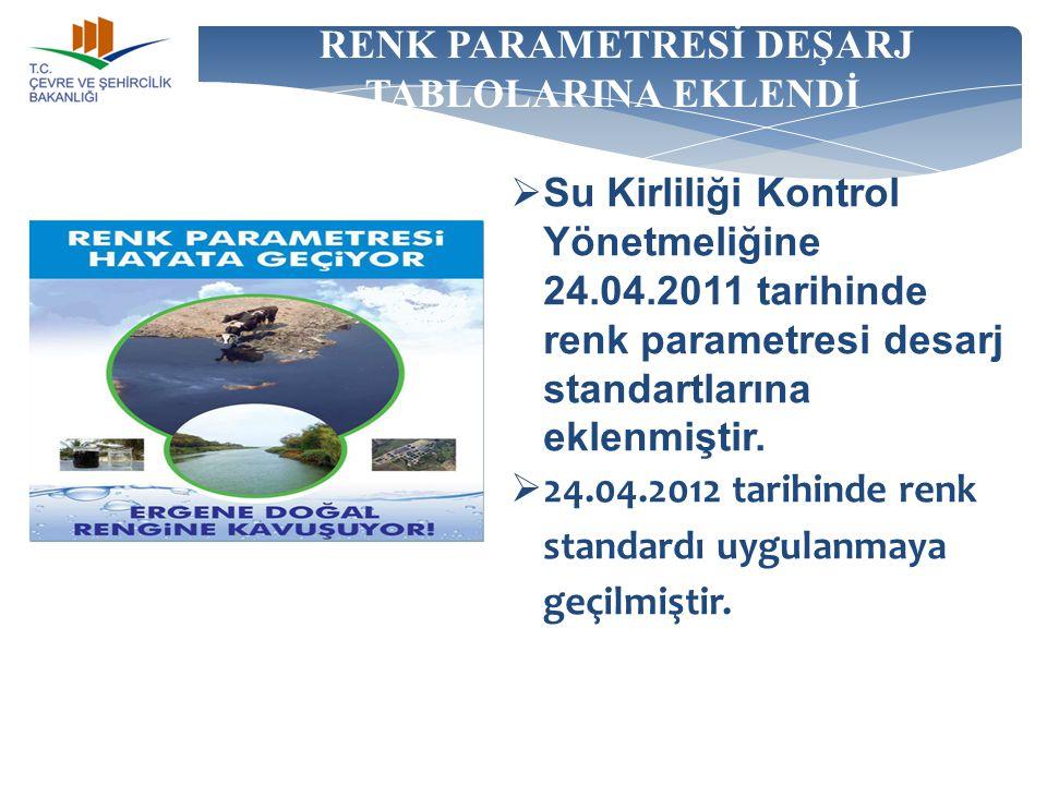 RENK PARAMETRESİ DEŞARJ TABLOLARINA EKLENDİ  Su Kirliliği Kontrol Yönetmeliğine 24.04.2011 tarihinde renk parametresi desarj standartlarına eklenmişt