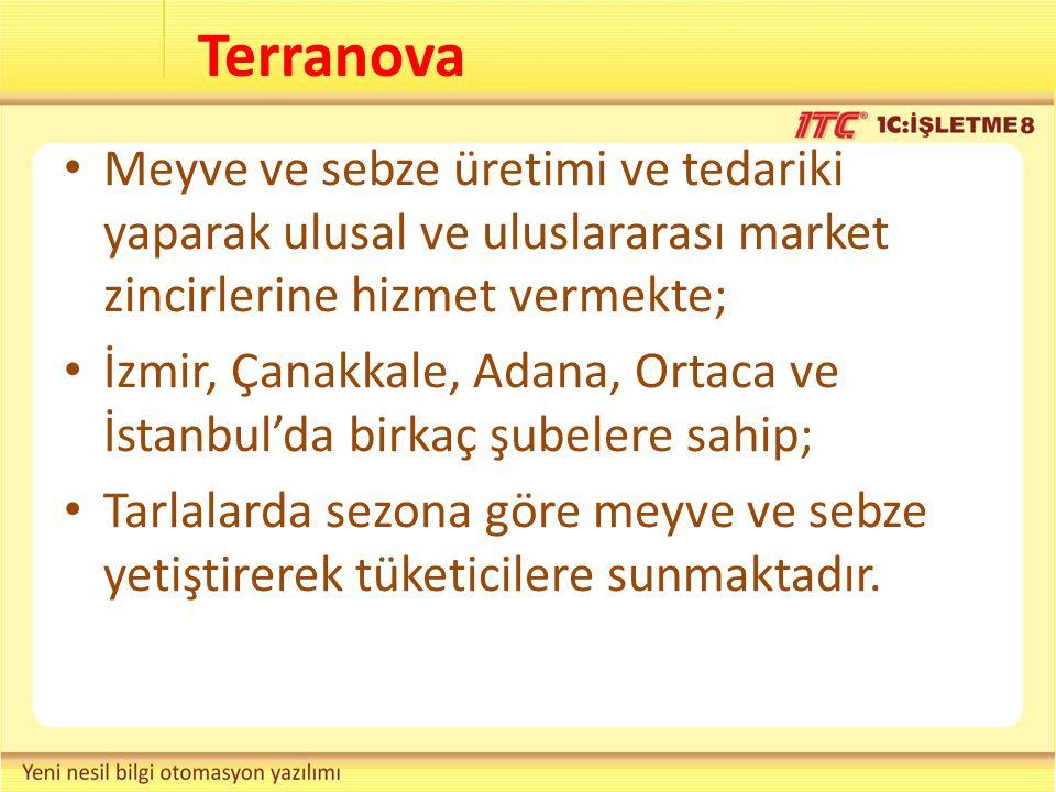 Terranova Meyve ve sebze üretimi ve tedariki yaparak ulusal ve uluslararası market zincirlerine hizmet vermekte; İzmir, Çanakkale, Adana, Ortaca ve İs
