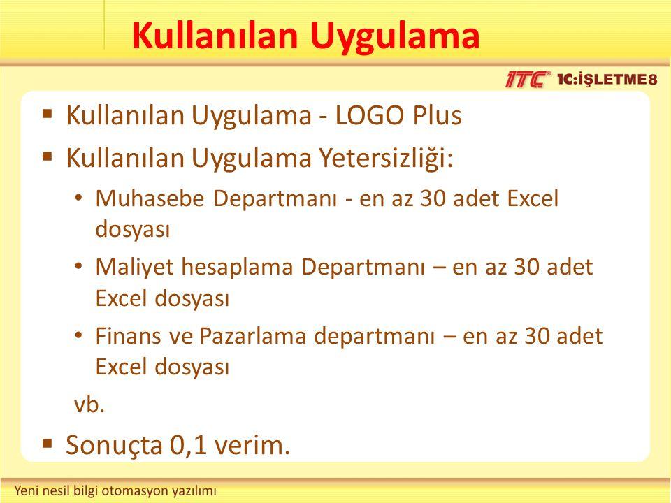 Kullanılan Uygulama  Kullanılan Uygulama - LOGO Plus  Kullanılan Uygulama Yetersizliği: Muhasebe Departmanı - en az 30 adet Excel dosyası Maliyet he