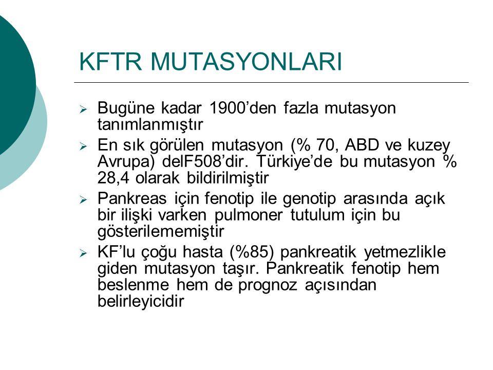KFTR MUTASYONLARI  Bugüne kadar 1900'den fazla mutasyon tanımlanmıştır  En sık görülen mutasyon (% 70, ABD ve kuzey Avrupa) delF508'dir. Türkiye'de