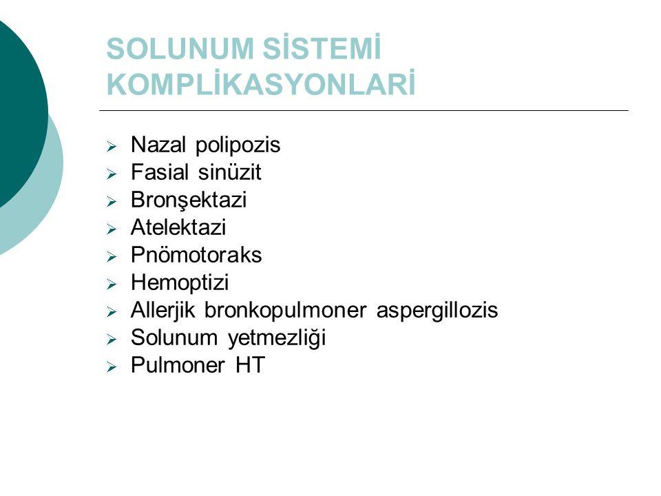 SOLUNUM SİSTEMİ KOMPLİKASYONLARİ  Nazal polipozis  Fasial sinüzit  Bronşektazi  Atelektazi  Pnömotoraks  Hemoptizi  Allerjik bronkopulmoner asp