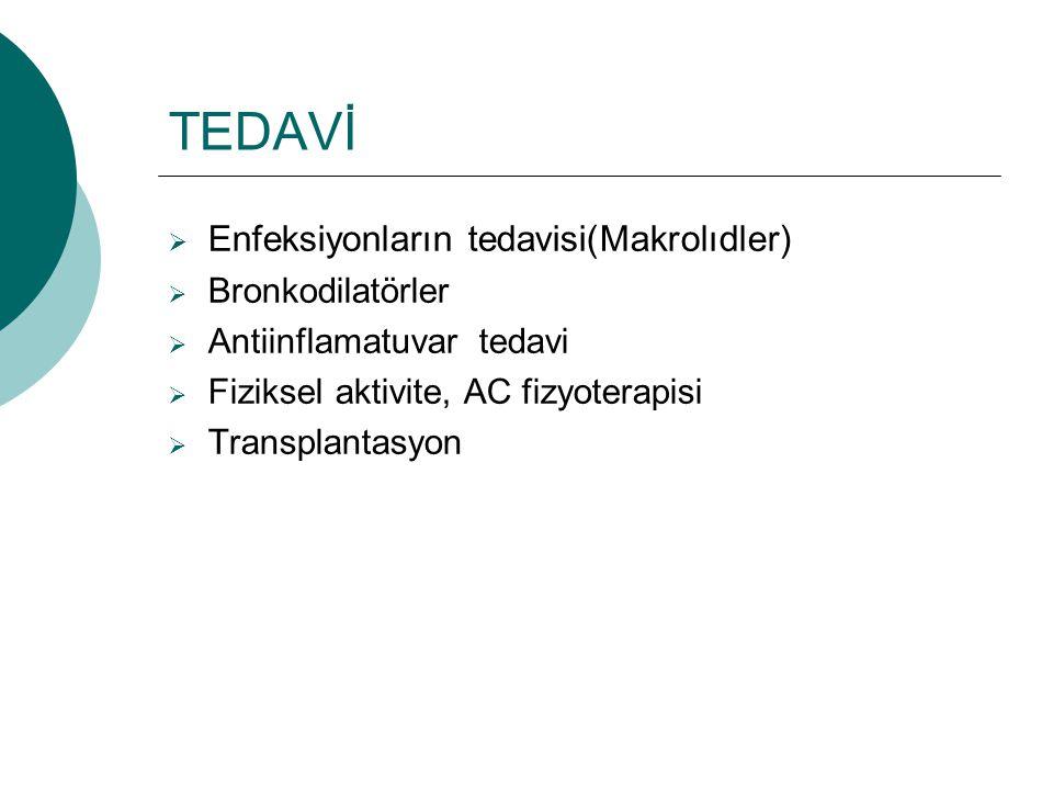TEDAVİ  Enfeksiyonların tedavisi(Makrolıdler)  Bronkodilatörler  Antiinflamatuvar tedavi  Fiziksel aktivite, AC fizyoterapisi  Transplantasyon
