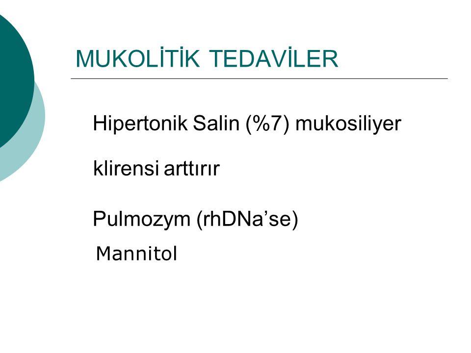 MUKOLİTİK TEDAVİLER Hipertonik Salin (%7) mukosiliyer klirensi arttırır Pulmozym (rhDNa'se) Mannitol