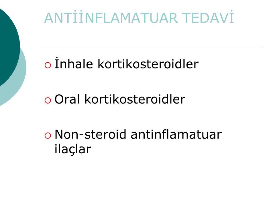 ANTİİNFLAMATUAR TEDAVİ  İnhale kortikosteroidler  Oral kortikosteroidler  Non-steroid antinflamatuar ilaçlar