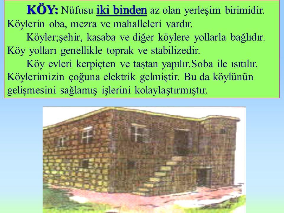 K ÖY: Nüfusu i ii iki binden az olan yerleşim birimidir.