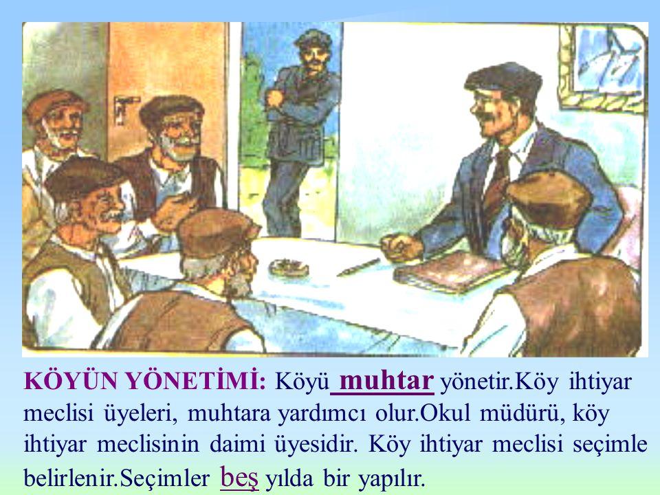 KÖYÜN YÖNETİMİ: Köyü muhtar yönetir.Köy ihtiyar meclisi üyeleri, muhtara yardımcı olur.Okul müdürü, köy ihtiyar meclisinin daimi üyesidir.