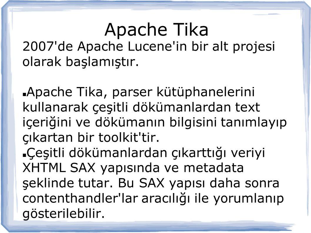 Apache Tika 2007 de Apache Lucene in bir alt projesi olarak başlamıştır.