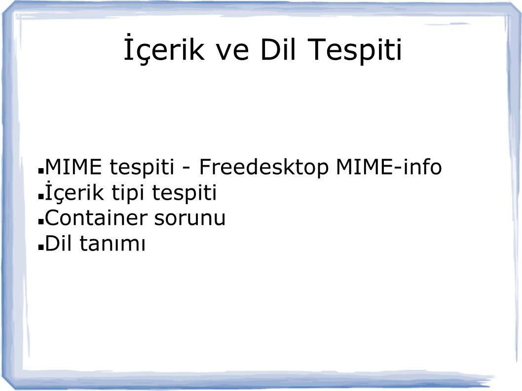 İçerik ve Dil Tespiti MIME tespiti - Freedesktop MIME-info İçerik tipi tespiti Container sorunu Dil tanımı