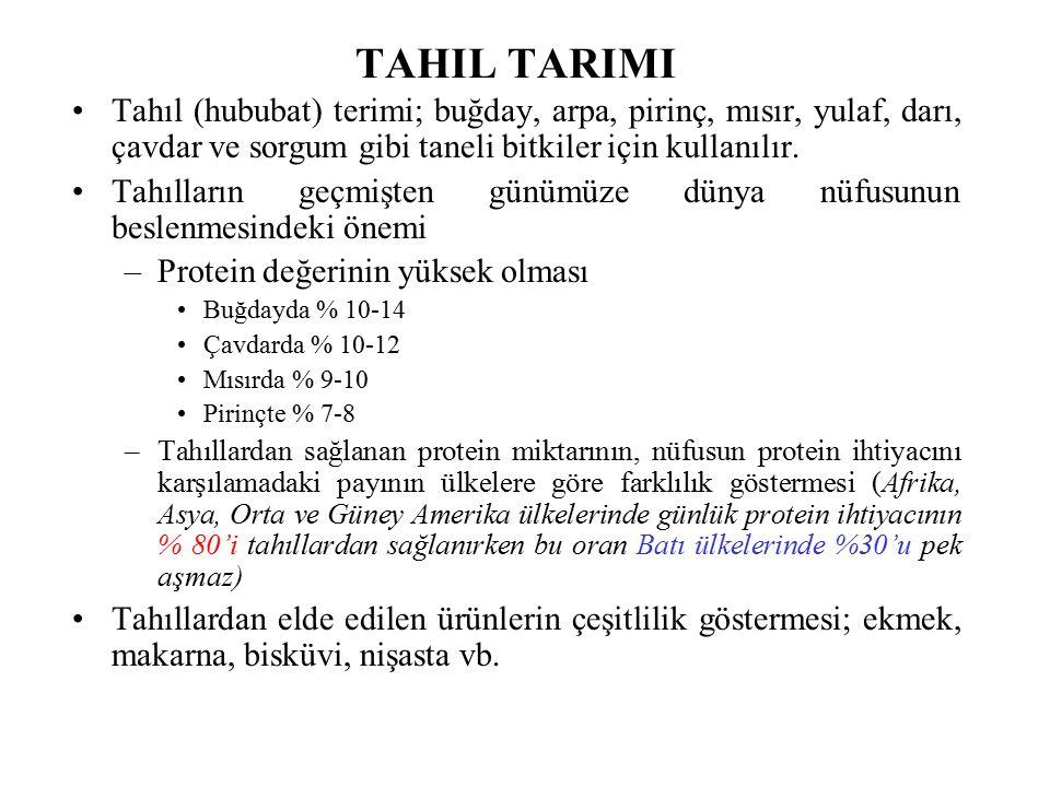 TAHIL TARIMI Tahıl (hububat) terimi; buğday, arpa, pirinç, mısır, yulaf, darı, çavdar ve sorgum gibi taneli bitkiler için kullanılır. Tahılların geçmi