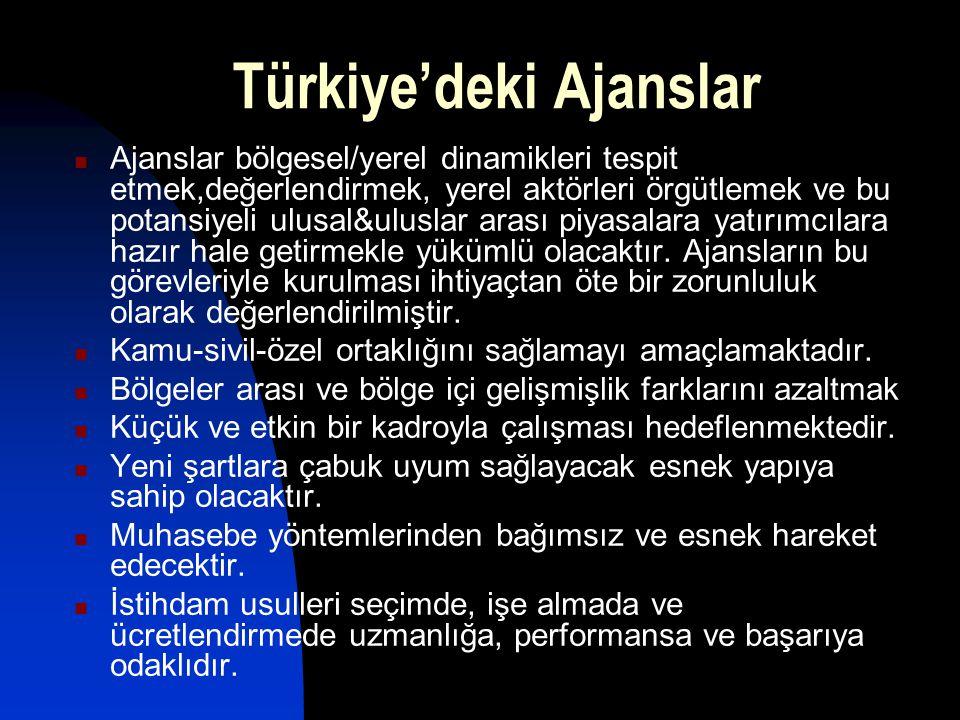 Türkiye'deki Ajanslar Ajanslar bölgesel/yerel dinamikleri tespit etmek,değerlendirmek, yerel aktörleri örgütlemek ve bu potansiyeli ulusal&uluslar ara