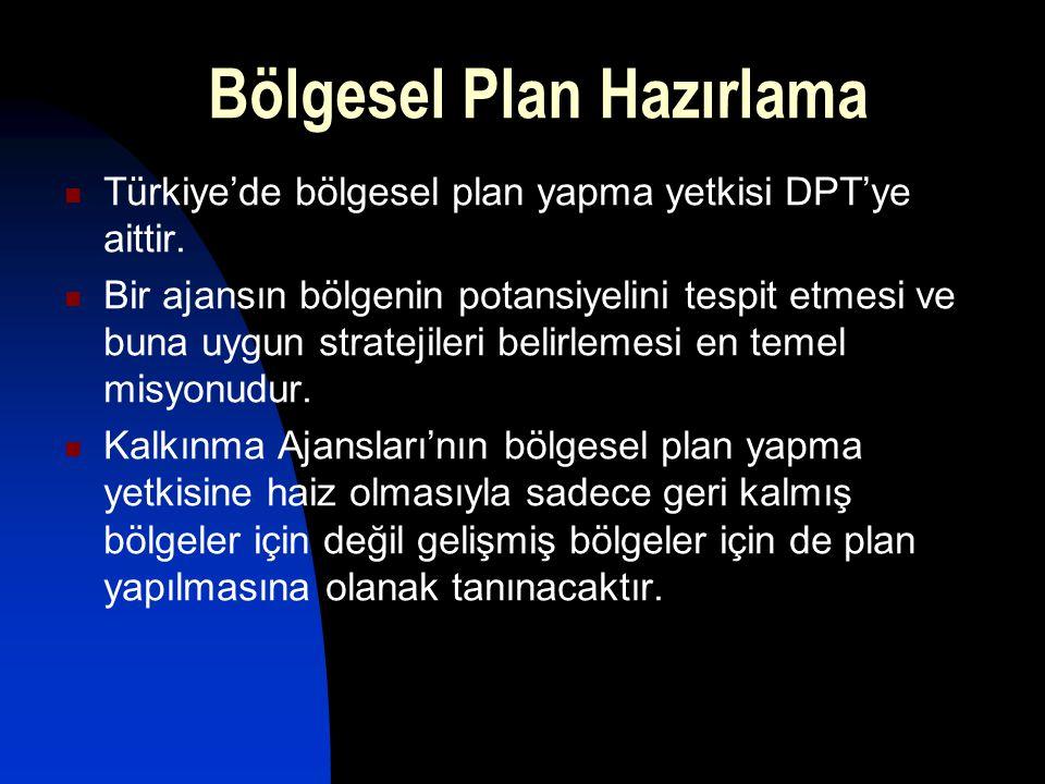 Türkiye'de bölgesel plan yapma yetkisi DPT'ye aittir. Bir ajansın bölgenin potansiyelini tespit etmesi ve buna uygun stratejileri belirlemesi en temel