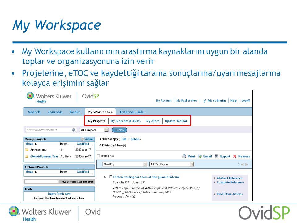 My Workspace My Workspace kullanıcının araştırma kaynaklarını uygun bir alanda toplar ve organizasyonuna izin verir Projelerine, eTOC ve kaydettiği tarama sonuçlarına/uyarı mesajlarına kolayca erişimini sağlar
