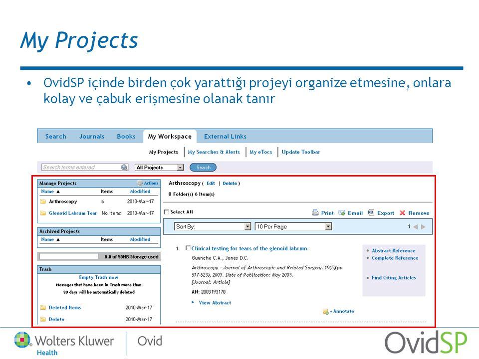 My Projects OvidSP içinde birden çok yarattığı projeyi organize etmesine, onlara kolay ve çabuk erişmesine olanak tanır