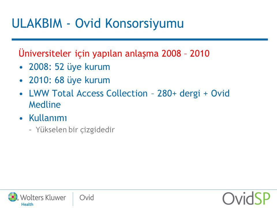 ULAKBIM - Ovid Konsorsiyumu Üniversiteler için yapılan anlaşma 2008 – 2010 2008: 52 üye kurum 2010: 68 üye kurum LWW Total Access Collection – 280+ dergi + Ovid Medline Kullanımı –Yükselen bir çizgidedir