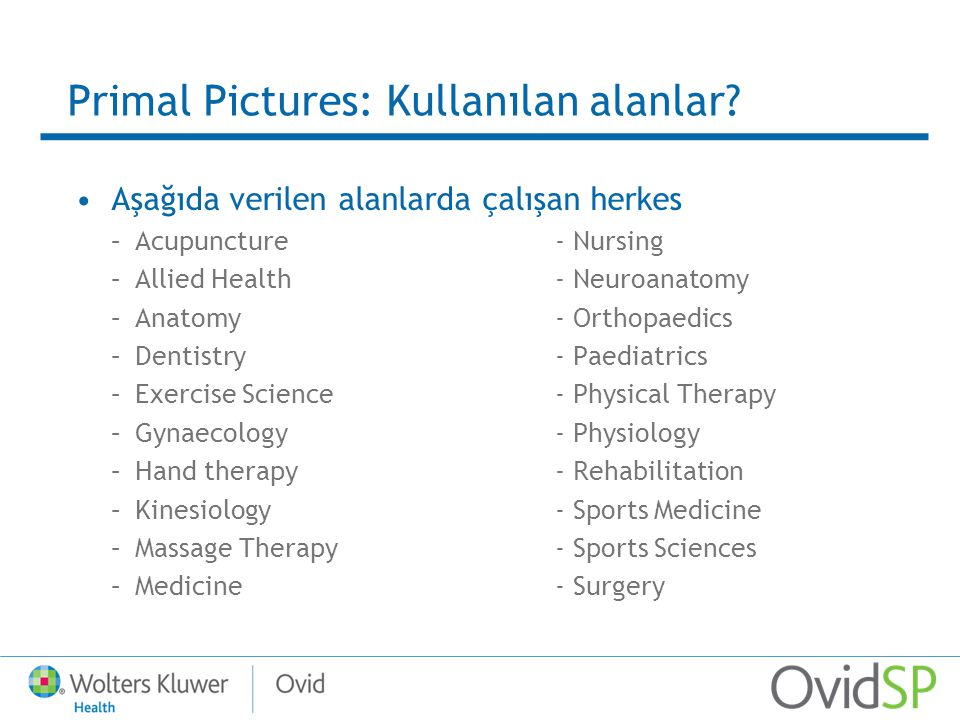 Primal Pictures: Modülleri Ana modüller: –Regional Edition –Systemic Edition Özel başlıklar –Anatomy for Acupuncture –Anatomy for Pilates –Anatomy for Trains –Interactive Hand Therapy –Interactive Spine Clinical Edition –Interactive Spine Chiropractic Edition –Dentistry Module