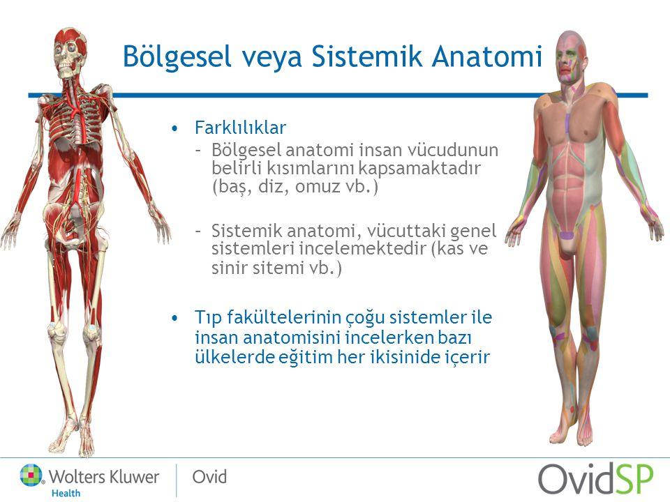 Bölgesel veya Sistemik Anatomi Farklılıklar –Bölgesel anatomi insan vücudunun belirli kısımlarını kapsamaktadır (baş, diz, omuz vb.) –Sistemik anatomi, vücuttaki genel sistemleri incelemektedir (kas ve sinir sitemi vb.) Tıp fakültelerinin çoğu sistemler ile insan anatomisini incelerken bazı ülkelerde eğitim her ikisinide içerir