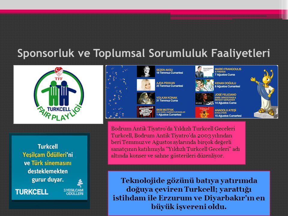 Sponsorluk ve Toplumsal Sorumluluk Faaliyetleri Bodrum Antik Tiyatro da Yıldızlı Turkcell Geceleri Turkcell, Bodrum Antik Tiyatro da 2003 yılından beri Temmuz ve Ağustos aylarında birçok değerli sanatçının katılımıyla Yıldızlı Turkcell Geceleri adı altında konser ve sahne gösterileri düzenliyor.