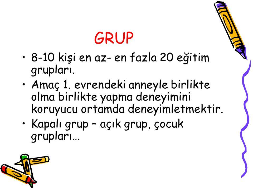 GRUP 8-10 kişi en az- en fazla 20 eğitim grupları. Amaç 1. evrendeki anneyle birlikte olma birlikte yapma deneyimini koruyucu ortamda deneyimletmektir