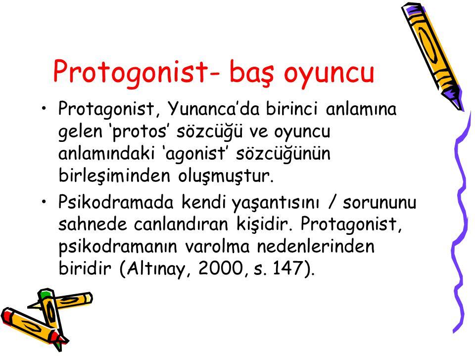 Protogonist- baş oyuncu Protagonist, Yunanca'da birinci anlamına gelen 'protos' sözcüğü ve oyuncu anlamındaki 'agonist' sözcüğünün birleşiminden oluşm