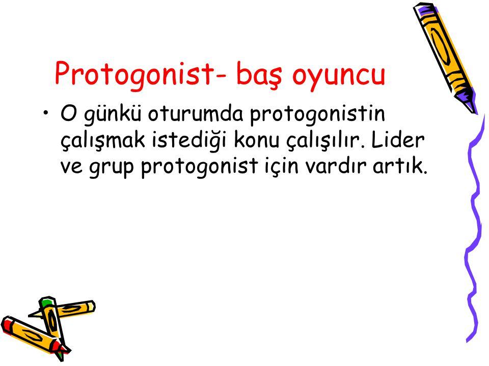 Protogonist- baş oyuncu O günkü oturumda protogonistin çalışmak istediği konu çalışılır. Lider ve grup protogonist için vardır artık.