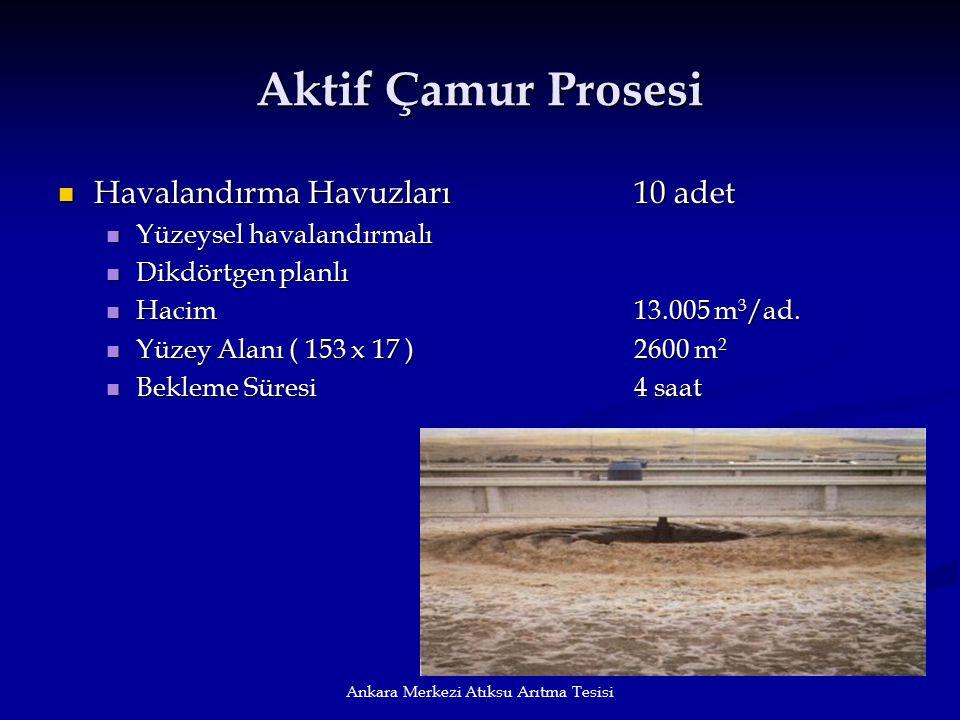 Ankara Merkezi Atıksu Arıtma Tesisi Aktif Çamur Prosesi Havalandırma Havuzları10 adet Havalandırma Havuzları10 adet Yüzeysel havalandırmalı Yüzeysel h