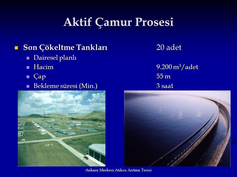 Ankara Merkezi Atıksu Arıtma Tesisi Aktif Çamur Prosesi Son Çökeltme Tankları 20 adet Son Çökeltme Tankları 20 adet Dairesel planlı Dairesel planlı Ha