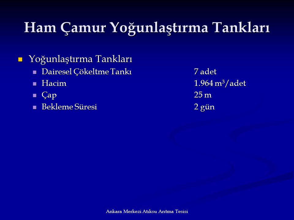 Ankara Merkezi Atıksu Arıtma Tesisi Ham Çamur Yoğunlaştırma Tankları Yoğunlaştırma Tankları Yoğunlaştırma Tankları Dairesel Çökeltme Tankı7 adet Daire