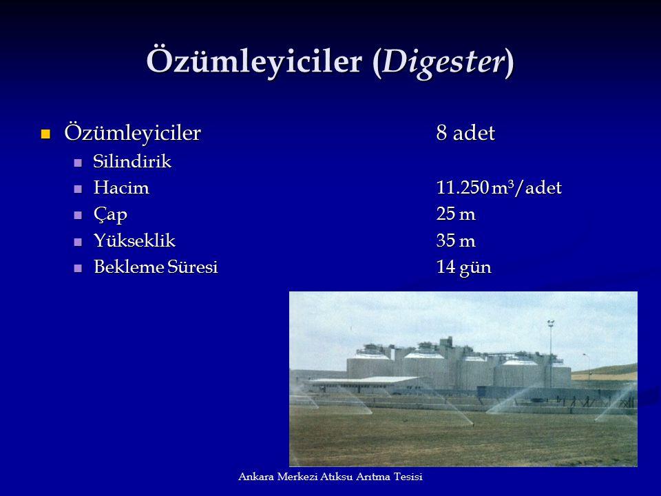 Ankara Merkezi Atıksu Arıtma Tesisi Özümleyiciler ( Digester ) Özümleyiciler8 adet Özümleyiciler8 adet Silindirik Silindirik Hacim11.250 m 3 /adet Hac