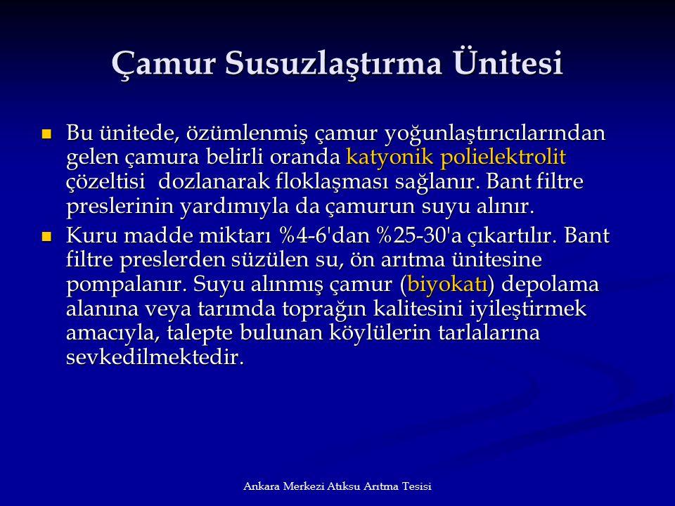 Ankara Merkezi Atıksu Arıtma Tesisi Çamur Susuzlaştırma Ünitesi Bu ünitede, özümlenmiş çamur yoğunlaştırıcılarından gelen çamura belirli oranda katyon