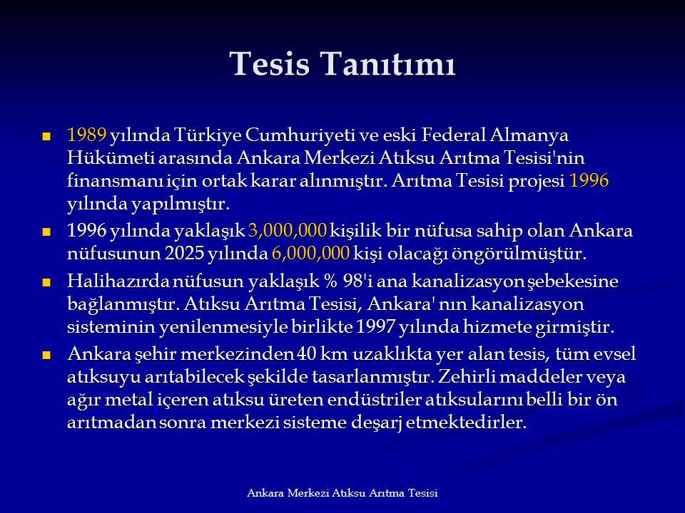 Ankara Merkezi Atıksu Arıtma Tesisi Tesis Tanıtımı 1989 yılında Türkiye Cumhuriyeti ve eski Federal Almanya Hükümeti arasında Ankara Merkezi Atıksu Ar