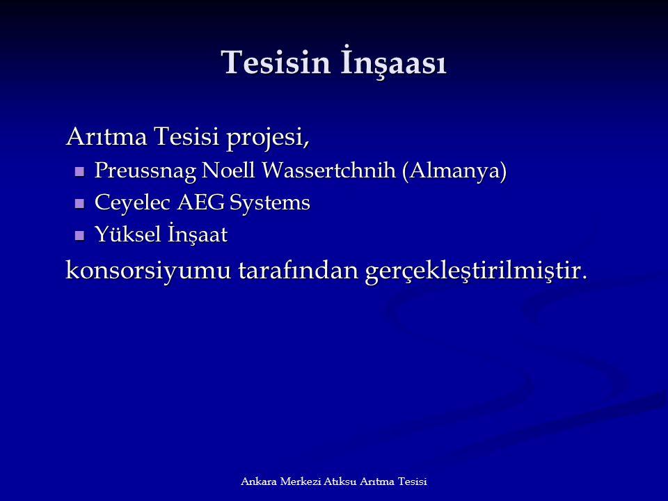 Ankara Merkezi Atıksu Arıtma Tesisi Tesisin İnşaası Arıtma Tesisi projesi, Preussnag Noell Wassertchnih (Almanya) Preussnag Noell Wassertchnih (Almany