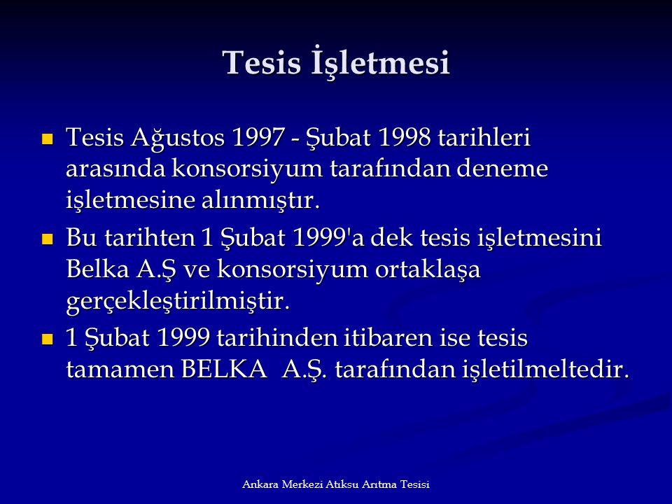 Ankara Merkezi Atıksu Arıtma Tesisi Tesis İşletmesi Tesis Ağustos 1997 - Şubat 1998 tarihleri arasında konsorsiyum tarafından deneme işletmesine alınm