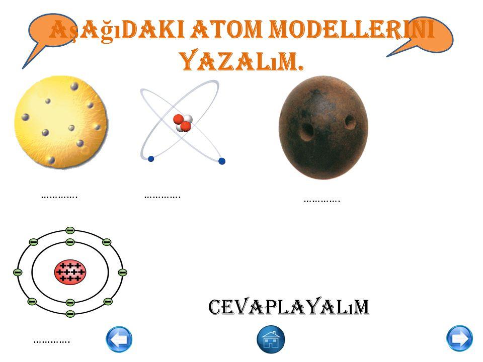 A ş a ğı daki atom modellerini yazal ı m. …………. Cevaplayal ı m