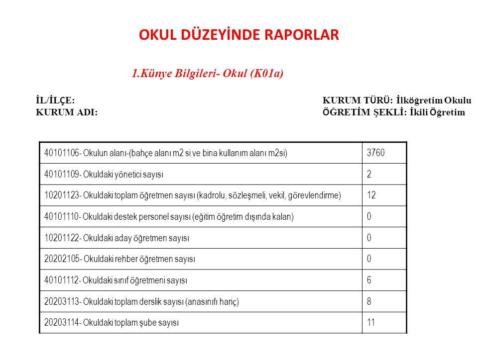 8.Genel Rapor-Okul (G01a) İL/İL Ç E : ………… KURUM ADI : ……….