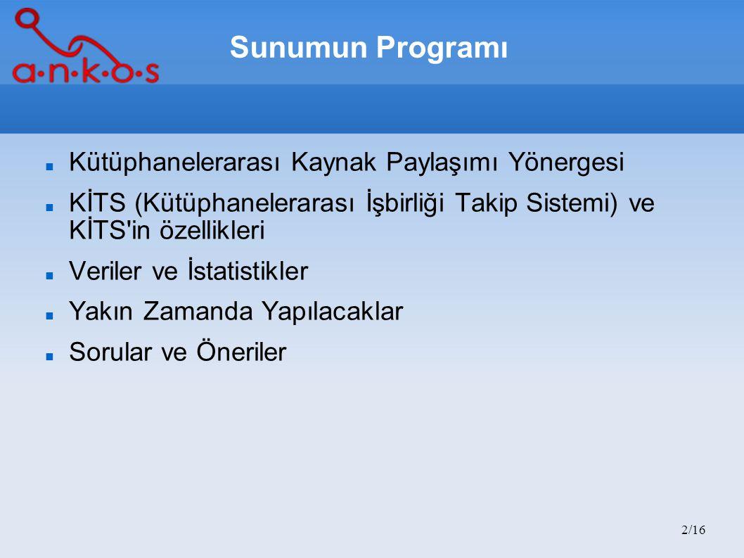 2/16 Sunumun Programı Kütüphanelerarası Kaynak Paylaşımı Yönergesi KİTS (Kütüphanelerarası İşbirliği Takip Sistemi) ve KİTS'in özellikleri Veriler ve