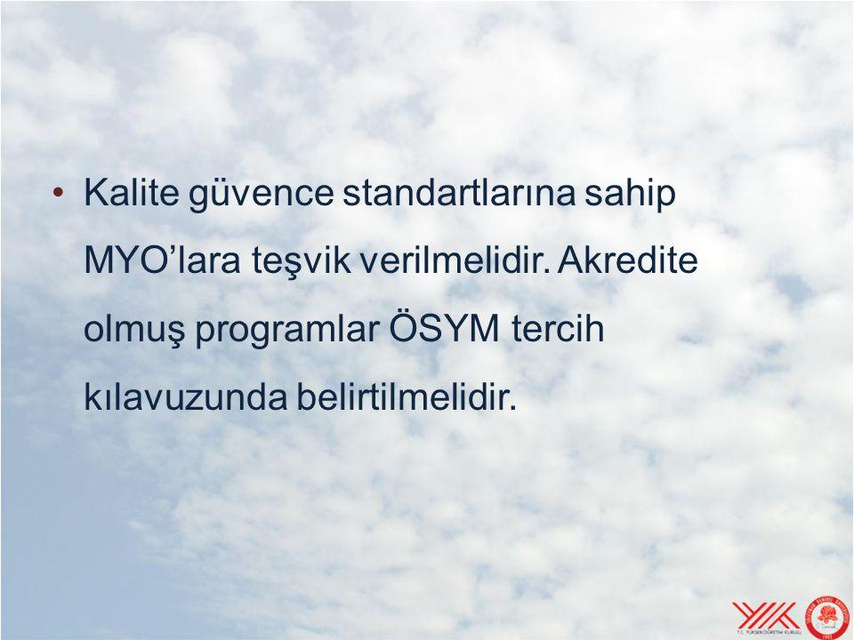 Kalite güvence standartlarına sahip MYO'lara teşvik verilmelidir. Akredite olmuş programlar ÖSYM tercih kılavuzunda belirtilmelidir.