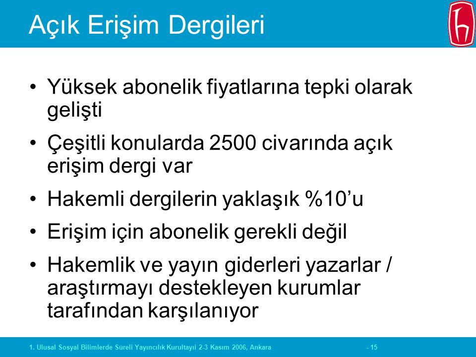 - 151. Ulusal Sosyal Bilimlerde Süreli Yayıncılık Kurultayıi 2-3 Kasım 2006, Ankara Açık Erişim Dergileri Yüksek abonelik fiyatlarına tepki olarak gel