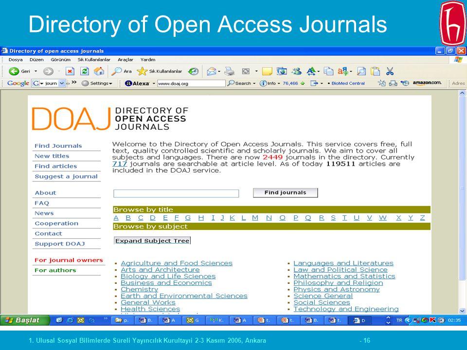 - 161. Ulusal Sosyal Bilimlerde Süreli Yayıncılık Kurultayıi 2-3 Kasım 2006, Ankara Directory of Open Access Journals