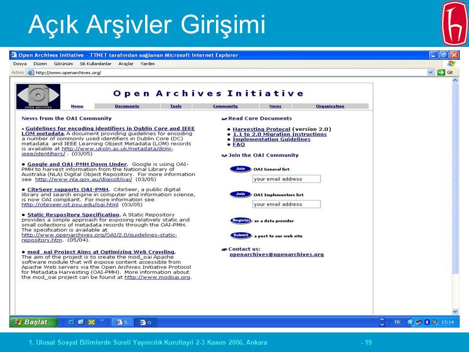 - 191. Ulusal Sosyal Bilimlerde Süreli Yayıncılık Kurultayıi 2-3 Kasım 2006, Ankara Açık Arşivler Girişimi