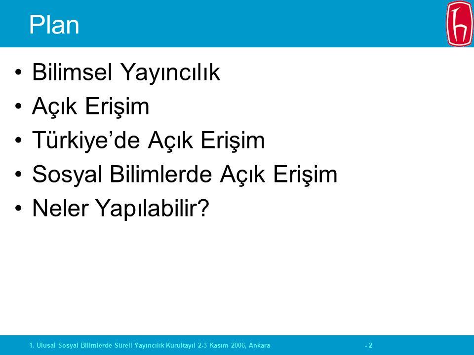 - 21. Ulusal Sosyal Bilimlerde Süreli Yayıncılık Kurultayıi 2-3 Kasım 2006, Ankara Plan Bilimsel Yayıncılık Açık Erişim Türkiye'de Açık Erişim Sosyal