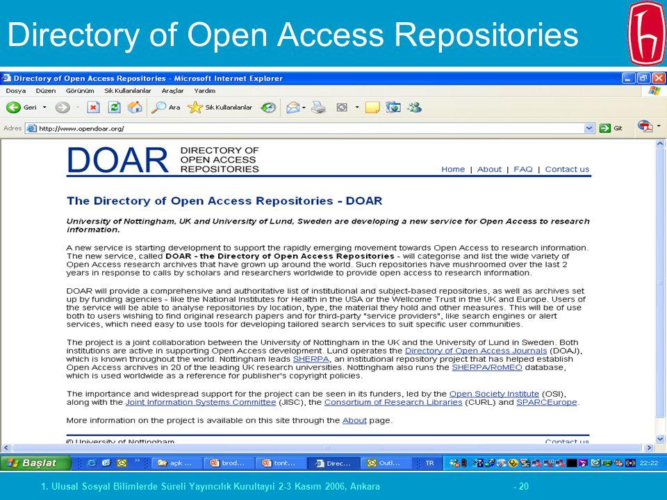 - 201. Ulusal Sosyal Bilimlerde Süreli Yayıncılık Kurultayıi 2-3 Kasım 2006, Ankara Directory of Open Access Repositories